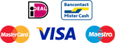 iDEAL, Bancontact / Mister Cash, MasterCard, Visa, Maestro, Rembours