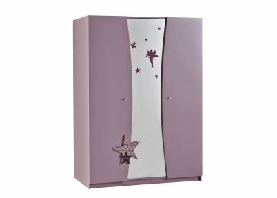 Elegante lila kledingkast met spiegel arwen kasten