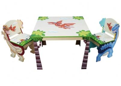 Handgemaakte tafel met stoeltjes dino tafeltjes en stoelen