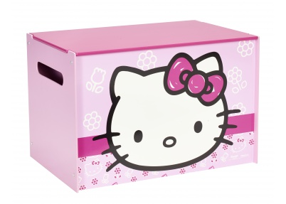 Hello Kitty speelgoedkist in lichtroze, donkerroze en wit
