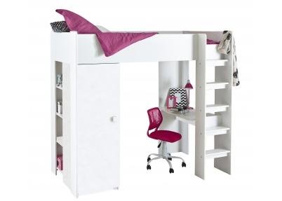 Hoogslaper met bureau en kast elegant white wash hoogslaper met