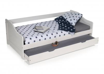 Kinderbed Met Extra Bed.Tienerbed Bedbank Met Bedlade Sofi Wit