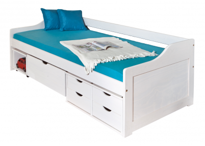 Grenen kajuitbed Box whitewash met 5 lades