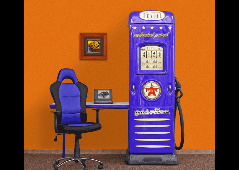 Benzinepomp kledingkast, autokamer blauw   Kasten   JeEigenKame