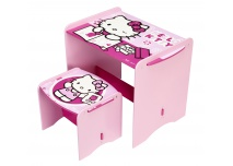 Hello Kitty kinderbureau met krukje in lichtroze, donkerroze en wit