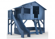 Treehouse bed Welcome to the jungle atlantisch blauw met verticale glijbaan en lounge bed