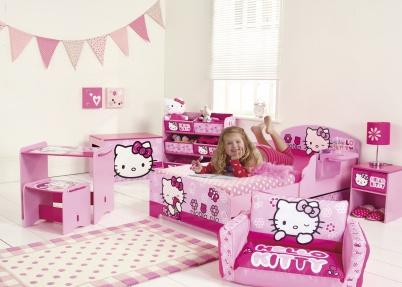 Roze hello kitty kamer voor meisjes meisjeskamers jongenskamers - Roze kleine kamer ...